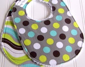 Baby Boy Bibs -  Set of 2 Triple Layer Chenille  -  Splendid Dots & Stripes