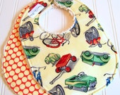 Baby Bibs for Baby Boy  - Set of 2 Triple Layer Chenille Bibs  - Vintage Toys and Full Moon Cherry Dots