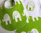 Baby Bib, Burp Cloth & Onesie Bodysuit Gift Set  - Gender Neutral for Baby Boy or Baby Girl  - Chenille Triple Layer Design - GREEN ELEPHANT