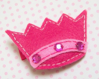 Girl's Hair Clip  -  Children's Princess Crown Hair Clip -  PINK CROWN