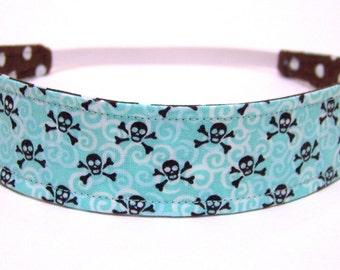 Girls  Child  Children's  Headband  -  AQUA SKULLS    Reversible Fabric