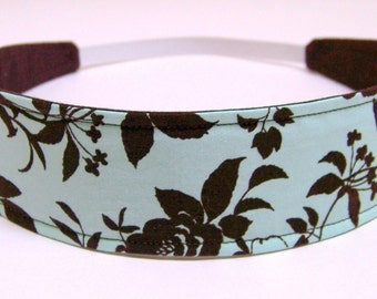 Headband Reversible Fabric  -  Light Aqua, Antique Blue, Brown Roses, Floral -  Headbands for Women  -  CHARLOTTE