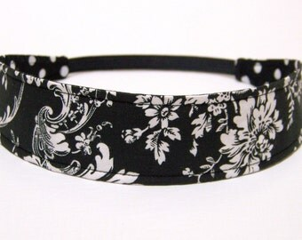 Headband Reversible Fabric  -  White Floral on Black Background -   Headbands for Women - AUDREY