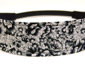 Headband Reversible Fabric  -  White & Black Floral  -  Headbands for Women -  ISABELLE