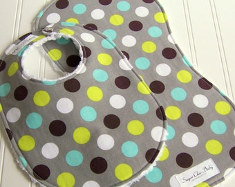 Bib & Burp Cloth Set for Baby Boy -  Super Absorbent Chenille - Triple Layer Design -  Set of 2  - SPLENDID DOTS