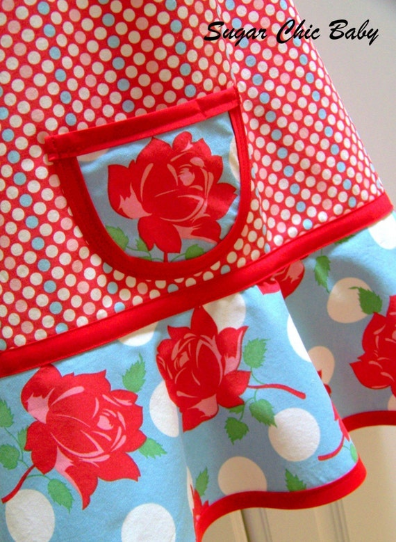 Kids Apron - MODA DOTS & ROSES  -  Girls Apron Child Children's  Kids Toddler Teen  -  Cooking Craft Apron