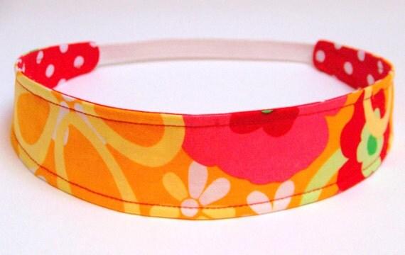 Girls Child Children's Headband   -  POCKET FULL of POSIES  -   Reversible Fabric
