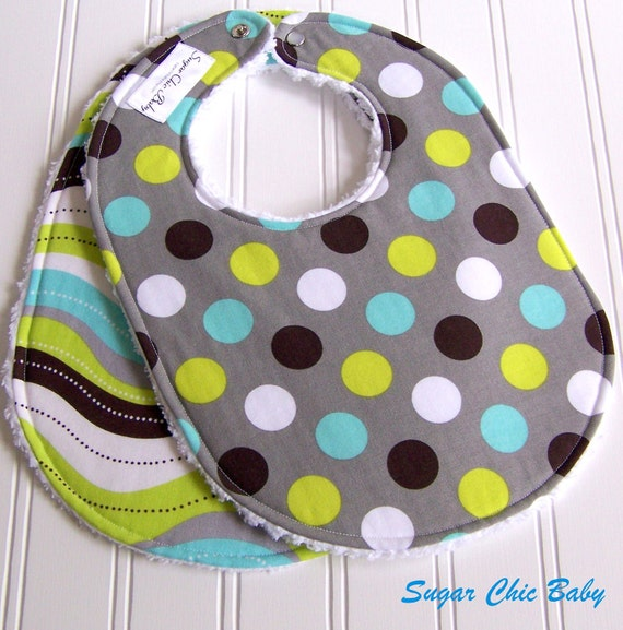 Baby Boy Bibs -  Set of 2 Triple Layer Chenille  -  Splendid Dots & Stripes