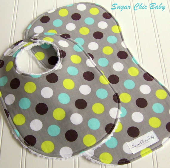 Bib & Burp Cloth Set for Baby Boy -  Super Absorbent Chenille - Triple Layer Design -  Set of 2  - SPLENDID DOTS