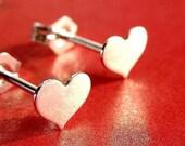 Heart Studs Heart Earrings Valentine's Day Heart Sterling Silver Earrings Valentine Jewelry Gift Small Post Earrings Stud Earrings Studs