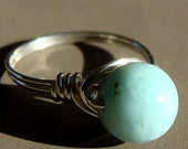 Genuine Larimar Ring Wire Wrapped in Sterling Silver Size 7