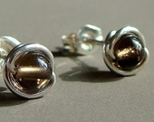 Smoky Quartz Studs Tiny 4mm Post Earrings in Sterling Silver Stud Earrings Quartz Studs