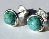 African Turquoise Jasper Studs 6mm Turquoise Studs Post Earrings in Sterling Silver Stud Earrings Studs