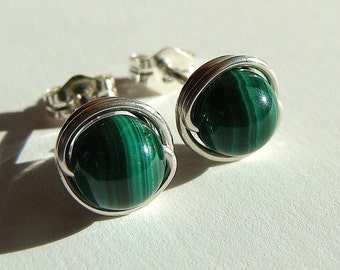Malachite Studs Malachite Post Earrings Wire Wrapped in Sterling Silver Stud Earrings Malachite Jewelry