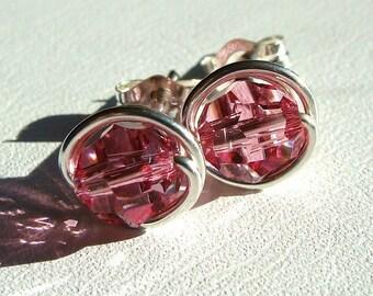 Rose Pink Studs Pink Crystal Studs 6mm Rose Swarovski Crystal Stud Earrings in Sterling Silver Post Earrings Studs