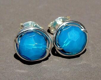 Caribbean Blue Opal Studs 8mm Blue Opal Swarovski Crystal Post Earrings in Sterling Silver Stud Earrings Suds