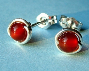 Tiny Carnelian Studs Carnelian Post Earrings Wire Wrapped in Sterling Silver Stud Earrings
