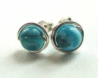 Blue Agate Earrings Blue Sterling Silver Studs Blue Crazy Lace Agate Post Stud Earrings in Sterling Silver