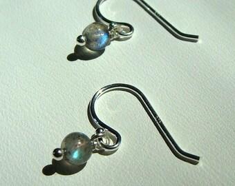 Tiny Labradorite Drop Earrings Wire Wrapped in Sterling Silver Labradorite Dangle Earrings