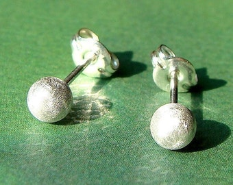 5mm Ball Studs Satin Brushed Finish Ball Post Earrings in Sterling Silver Stud Earrings