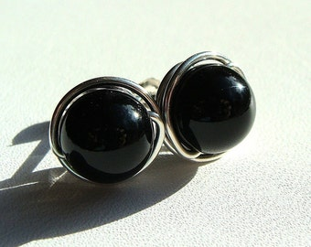 Black Onyx Studs Black Onyx Earrings 6mm Post Earrings Wire Wrapped in Sterling Silver Stud Earrings Onyx Studs