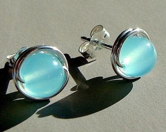 Sea Blue Chalcedony Studs 8mm Post Earrings Wire Wrapped in Sterling Silver Stud Earrings Studs