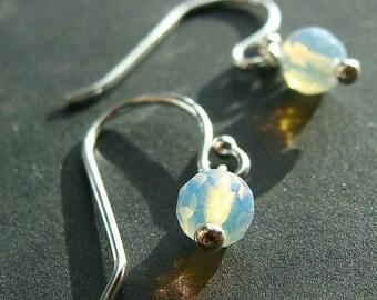 Sea Opal Earrings Tiny Faceted Round Sea Opal Opalite Sterling Silver Dangle Earrings Drop Earrings