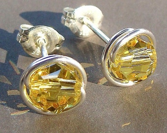 Yellow Topaz Studs 6mm Light Topaz Yellow Swarovski Crystal and Sterling Silver Post Earrings Stud Earrings Studs