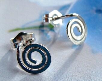 Swirl Post Sterling Silver Earrings Swirl Stud Earrings Studs Sterling Coil Earrings