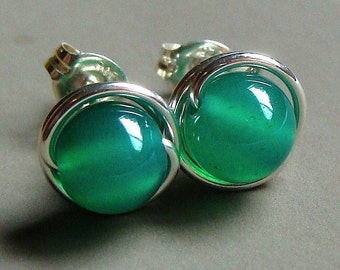 6mm Emerald Green Onyx Studs Post Earrings Wire Wrapped in Sterling Silver Stud Earrings Studs