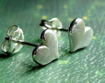 Heart Studs Brushed Heart Earrings Sterling Silver Stud Earrings Valentine Jewelry Gift Post Earrings Studs