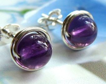Amethyst Studs Amethyst Earrings Birthstone Earrings Wire Wrapped in Sterling Silver Post Earrings