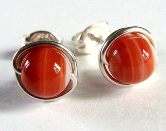 Banded Agate Studs 6mm Banded Striped Agate Studs Post Earrings Wire Wrapped in Sterling Silver Earrings