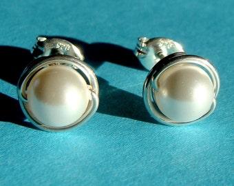 Pearl Studs Crystal Pearl Earrings 6mm White Swarovski Pearl Post Earrings Wire Wrapped in Sterling Silver Stud Earrings Pearl Studs