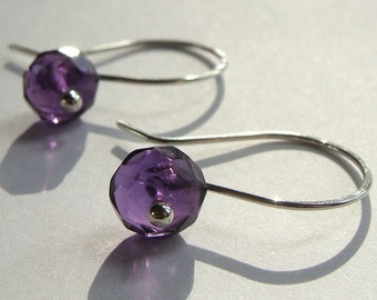 Amethyst Drop Earrings in Sterling Silver Faceted Dangle Earrings Birthstone Earrings
