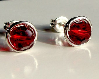 Red Siam Crystal Studs 6mm or 4mm  Red Siam Swarovski Crystal Post Earrings Wire Wrapped in Sterling Silver Stud Earrings Studs