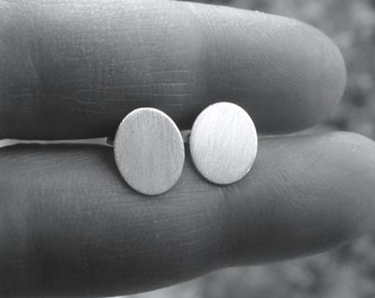 Flat Oval Studs 10X8mm Brushed Flat Oval Earrings Stud Earrings Sterling Silver Post Earrings Studs