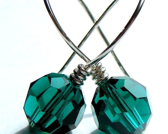 Emerald Green Crystal Earrings 10mm Emerald Green Swarovski Crystal Dangle Earrings in Sterling Silver Drop Earrings