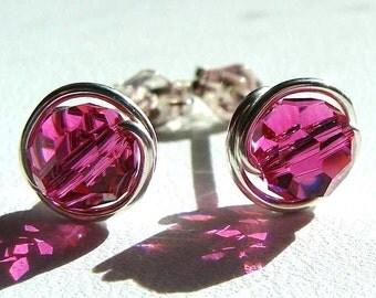6mm or 4mm Fuchsia Swarovski Crystal Post Earrings Wire Wrapped in Sterling Silver Stud Earrings Studs