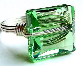 Square Peridot Ring Swarovski Crystal Cocktail Ring Wire Wrapped in Sterling Silver Statement Ring
