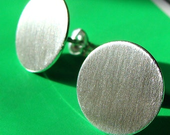 Flat Disc Studs 13mm Disc Post Earrings Sterling Silver Stud Earrings Silver Disc Studs