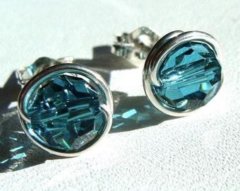 Indicolite Studs 8mm Indicolite Swarovski Crystal Post Earrings in Sterling Silver Stud Earrings Studs