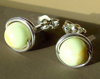 Citron Chrysoprase Studs Post Earrings Wire Wrapped in Sterling Silver Stud Earrings