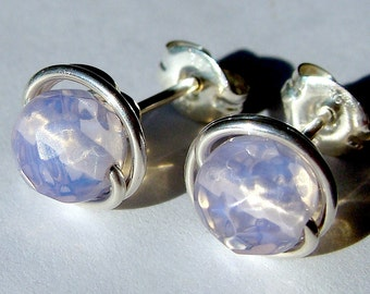 Pink Sea Opal / Opalite  6mm Post Earrings in Sterling Silver Stud Earrings Studs