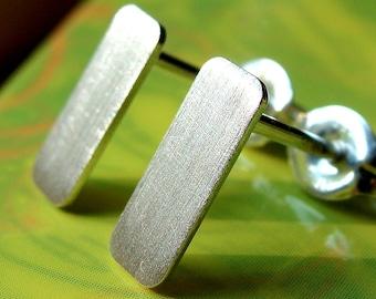 Flat Earrings Oblong Brushed Rectangle Studs Sterling Silver Stud Earrings Post Earrings Studs