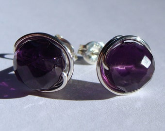 Amethyst Studs 8mm Faceted Amethyst Post Earrings Wire Wrapped in Sterling Silver Stud Earrings Studs