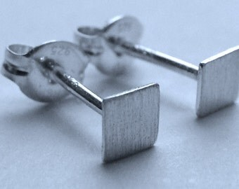 Flat Square Studs 4mm Square Micro-Mini Post Sterling Silver Earrings Stud Earrings Studs