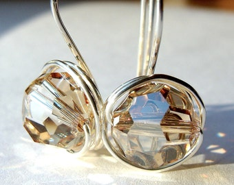 10mm Crystal Golden Shadow Swarovski Crystal Dangle Earrings in Sterling Silver Drop Earrings