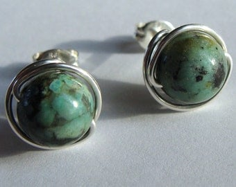 Turquoise Studs 8mm African Turquoise Jasper Studs Post Earrings Wire Wrapped in Sterling Silver Stud Earrings