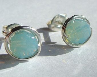 Pacific Opal Studs 8mm Swarovski Crystal Stud Earrings Wire Wrapped in Sterling Silver Post Earrings